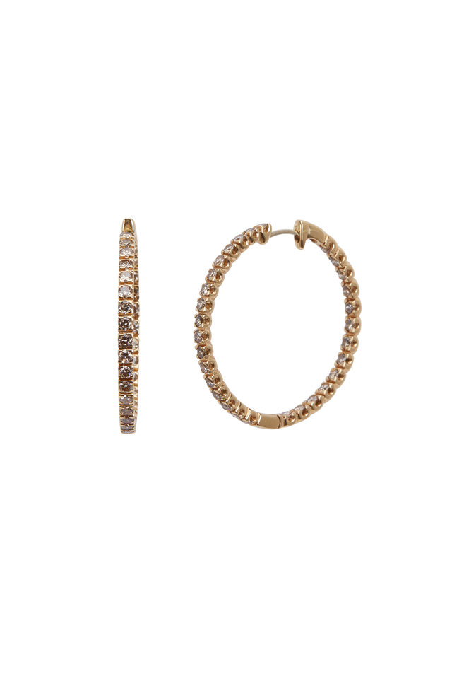 Yellow Gold Cognac Diamond Hoop Earrings