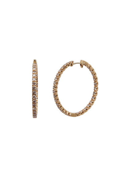 Kathleen Dughi - Yellow Gold Cognac Diamond Hoop Earrings