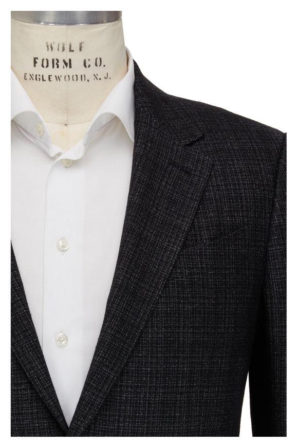 Ermenegildo Zegna Black & White Abstract Check Wool Blend Sportcoat