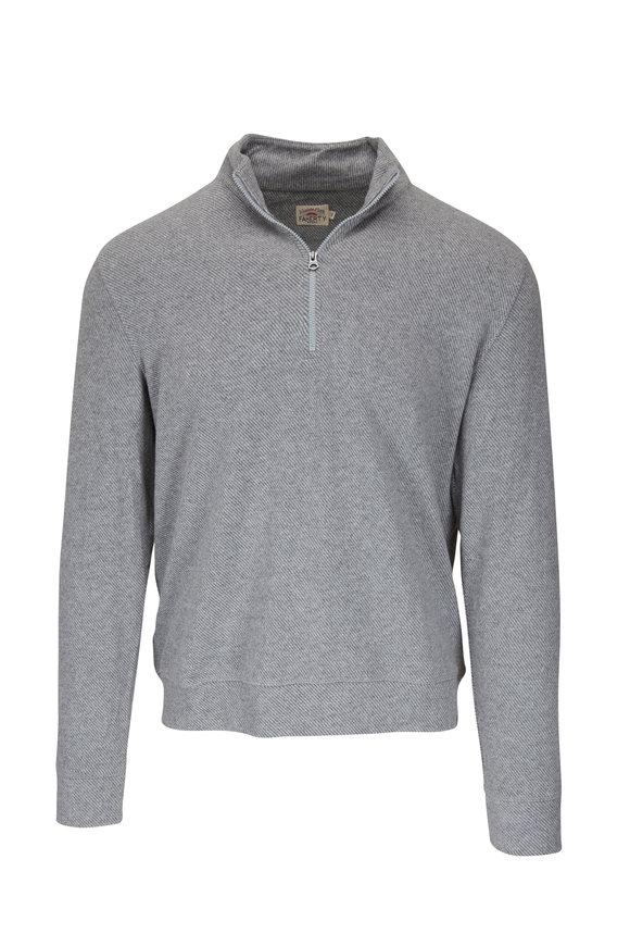 Faherty Brand Legend Gray Twill Quarter-Zip Pullover