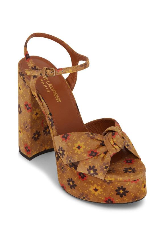 Saint Laurent Beige Multicolor Velvet Platform Sandal, 85mm