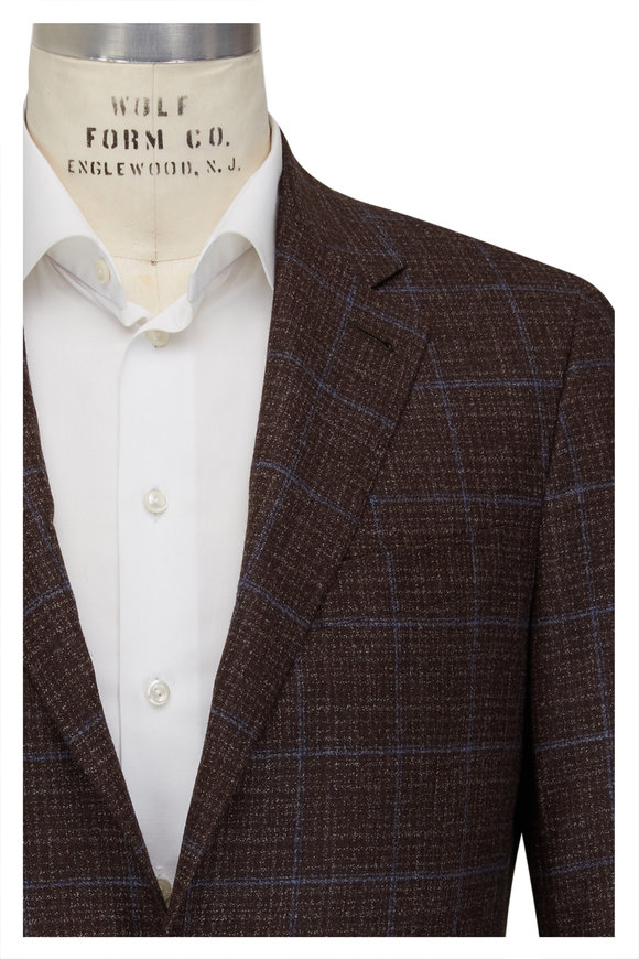 Canali Brown & Light Blue Wool Windowpane Sportcoat