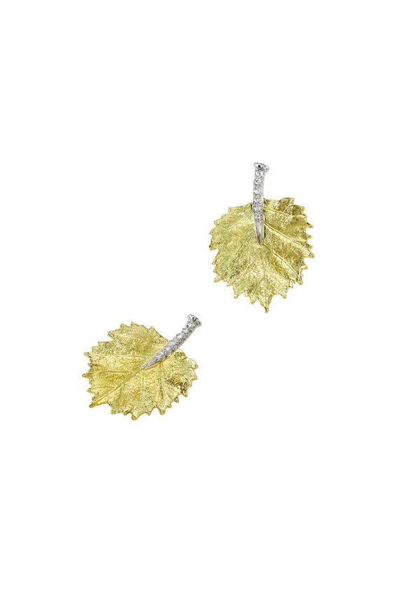 Aaron Henry Gold & Platinum Diamond Poplar Leaf Earrings