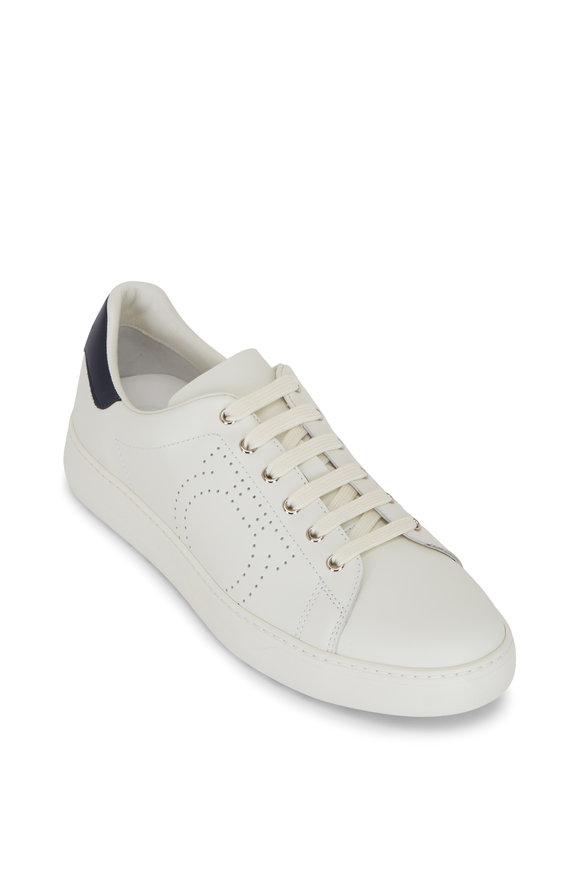 Salvatore Ferragamo Pierre White Leather Low Top Sneaker