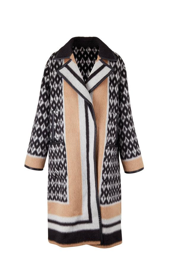 Valentino Cream &  Black Llama & Wool Archive Coat