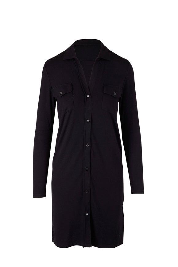Majestic Black Soft Touch Button Down Dress