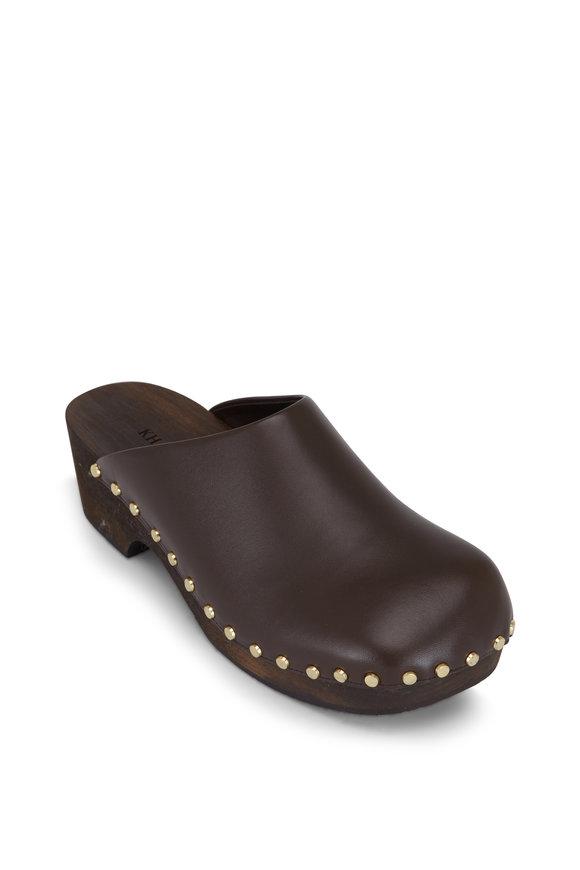 Khaite Lucca Dark Brown Leather Clog, 40mm