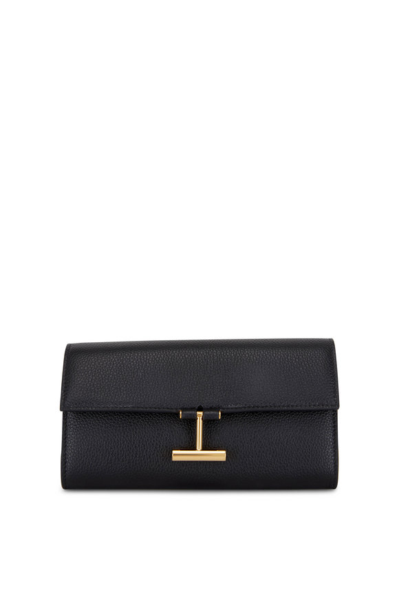 Tom Ford Black Grained Leather Continental Wallet