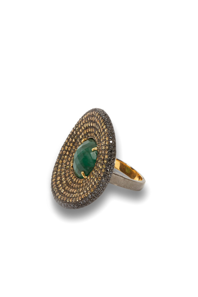 Gold & Silver Sapphire & Emerald Ring