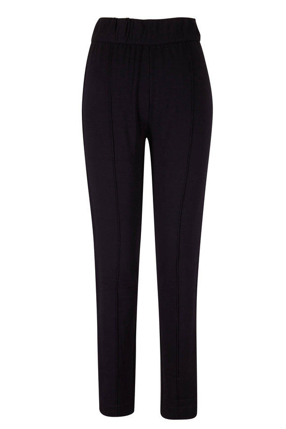 Majestic Black French Terry Fitted Pant