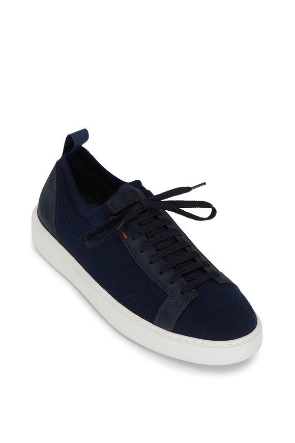 Santoni Daftest Navy Knit Sneaker