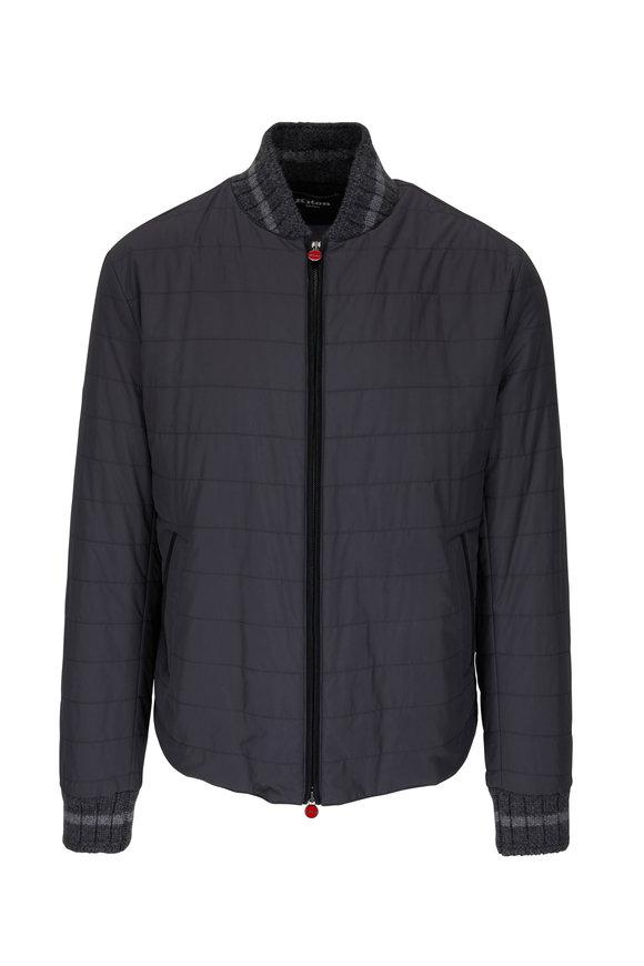 Kiton Gray Cashmere Trim Bomber Jacket