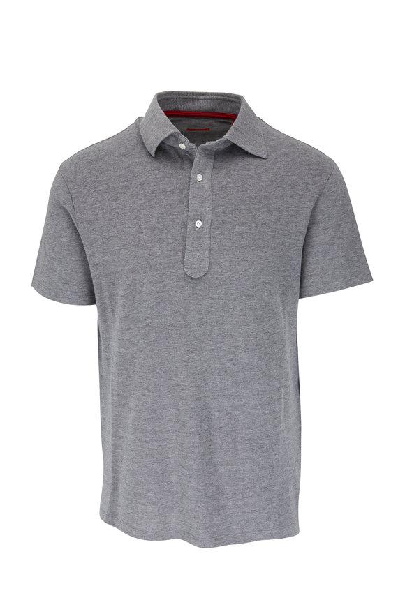 Isaia Light Gray Short Sleeve Polo
