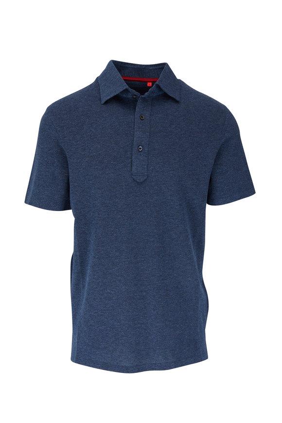 Isaia Marled Blue Short Sleeve Polo