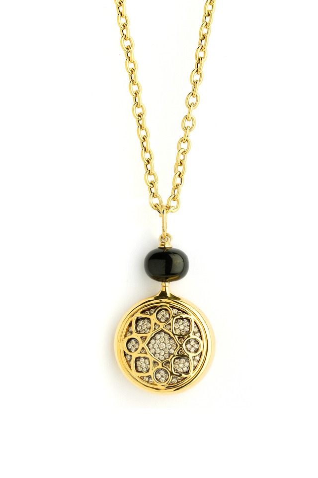 Black Spinel Diamond Gold Pendant