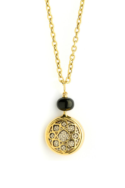Syna - Black Spinel Diamond Gold Pendant