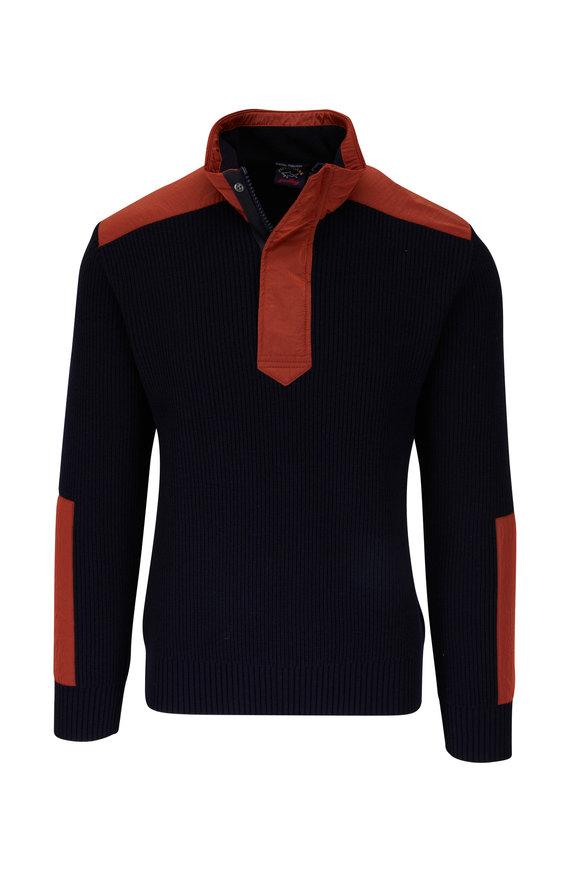 Paul & Shark Navy & Orange Quarter-Zip Pullover