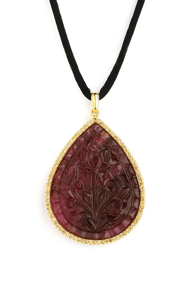 Pink Tourmaline Diamond Gold Pendant