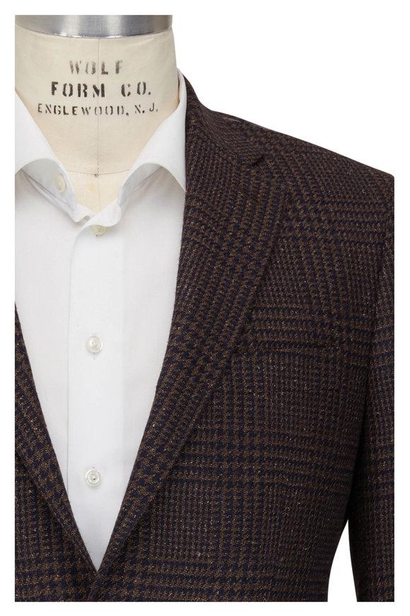 Atelier Munro Brown & Navy Plaid Wool Blend Sportcoat