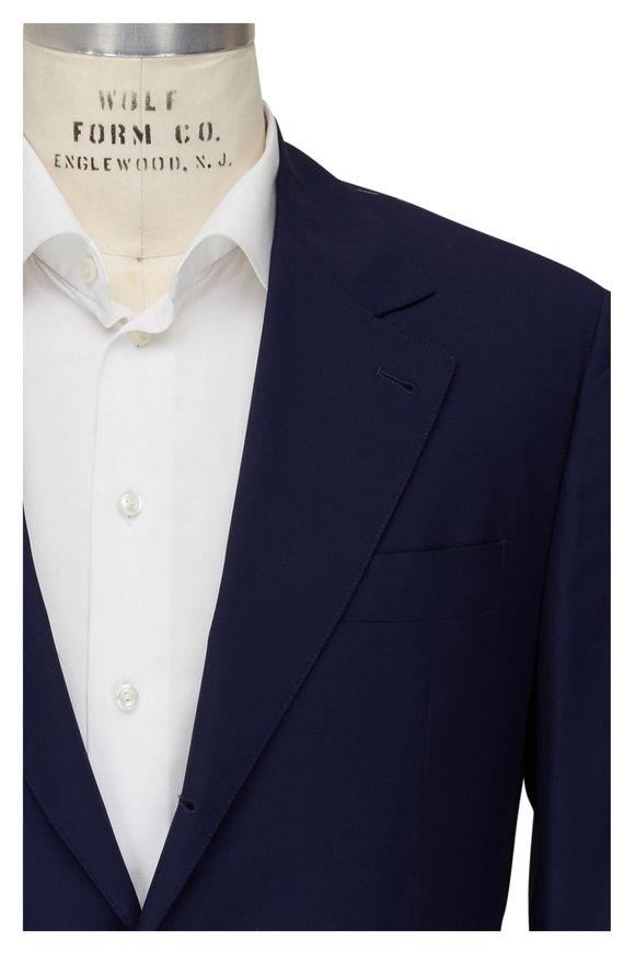 Brunello Cucinelli Navy Solid Wool & Silk Travel Suit