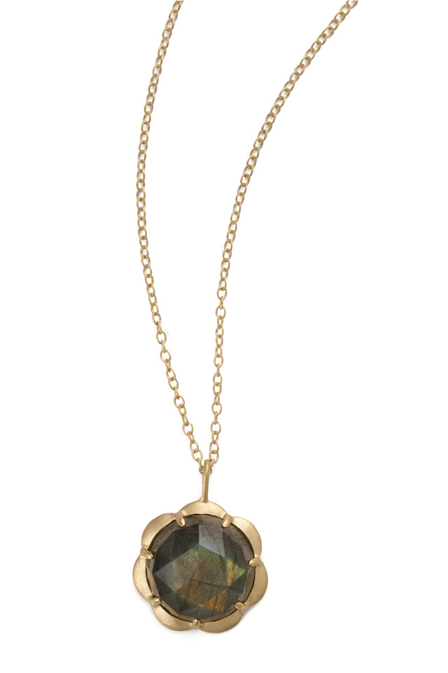 Yellow Gold Labradorite Drop Necklace