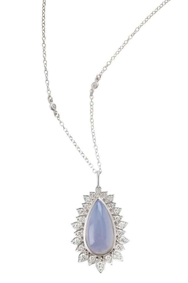 Aladdin White Gold Chalcedony Diamond Pendant