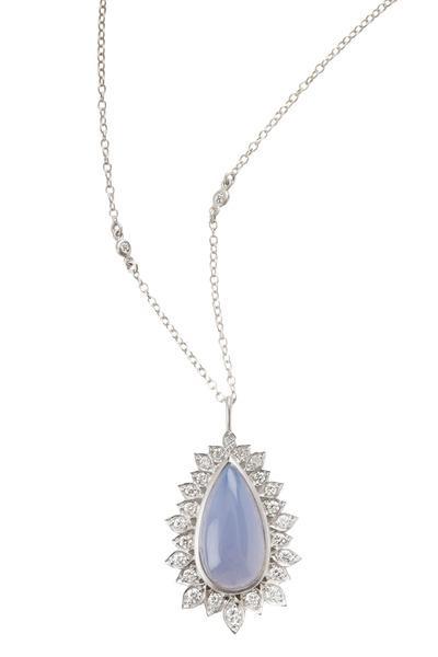Jamie Wolf - Aladdin White Gold Chalcedony Diamond Pendant