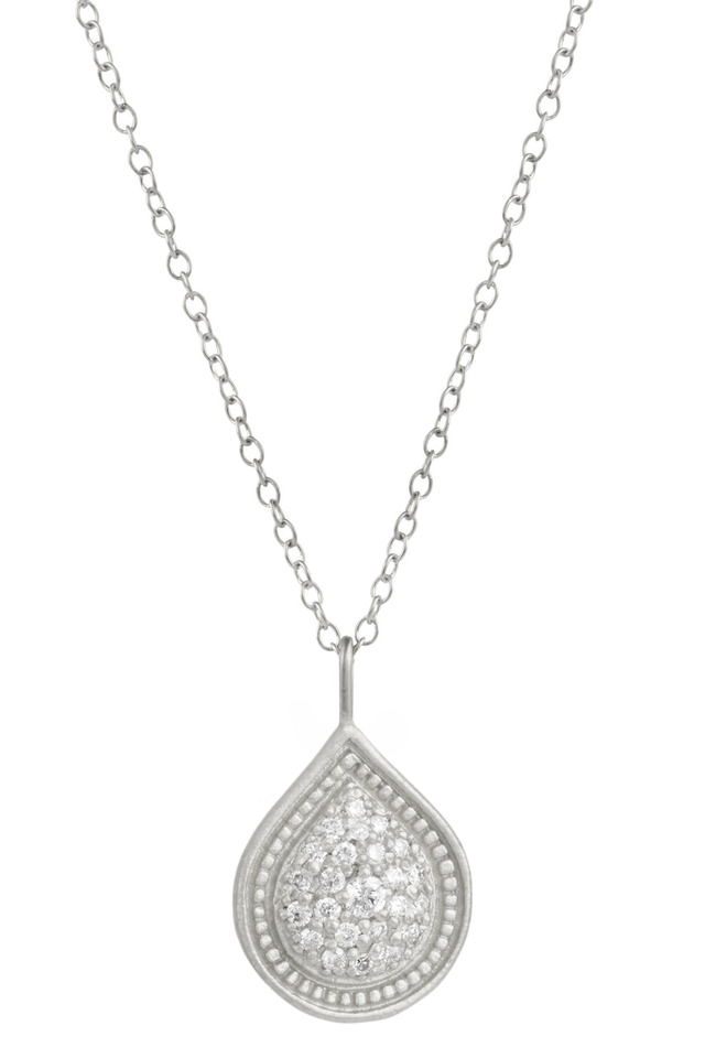 White Gold Bohemian Pear Pave Diamond Necklace