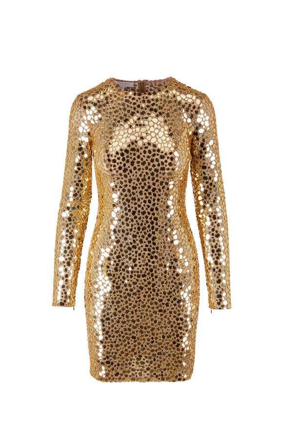 Michael Kors Collection Gold Mirror Embellished Long-Sleeve Mini Dress