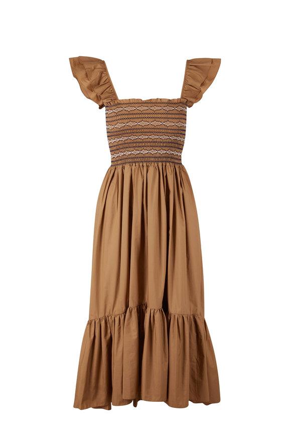 Cara Cara Ruby Khaki Mix Flutter Sleeve Dress