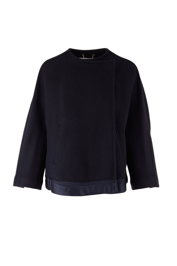 Chloé Iconic Navy Stretch Wool Wrap Coat