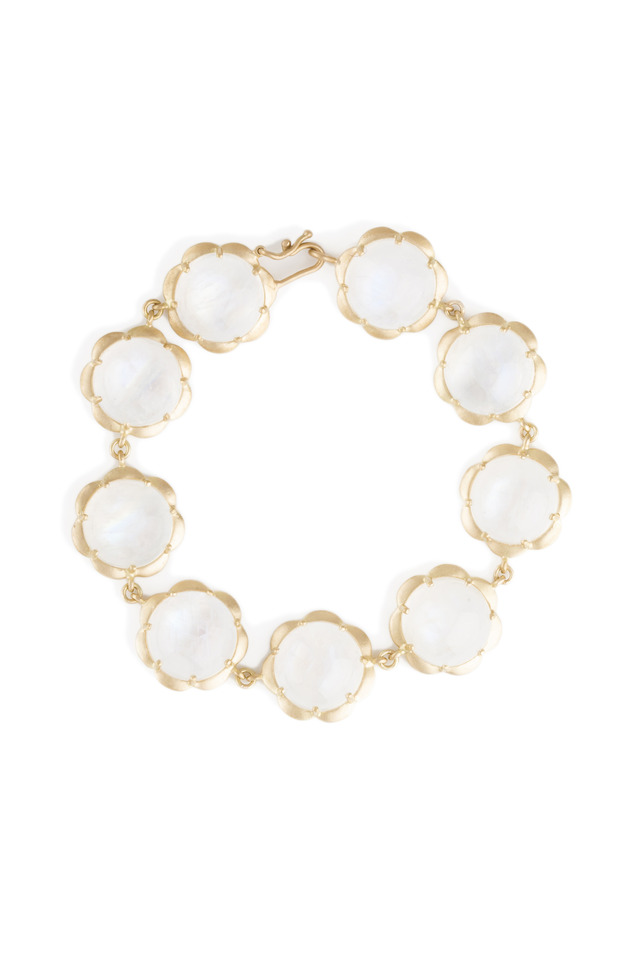Rainbow Moonstone Scallop Drop Gold Bracelet