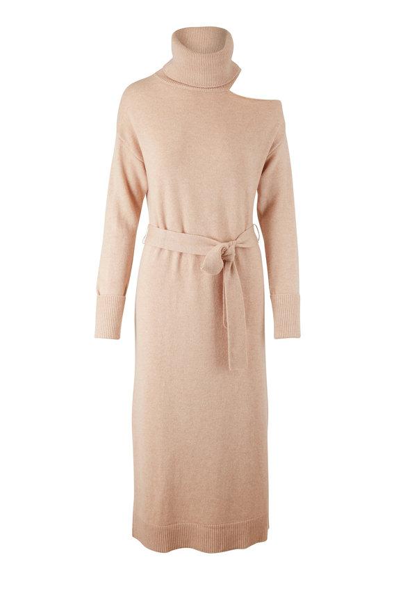 PAIGE Raundi Camel Cold Shoulder Turtleneck Dress