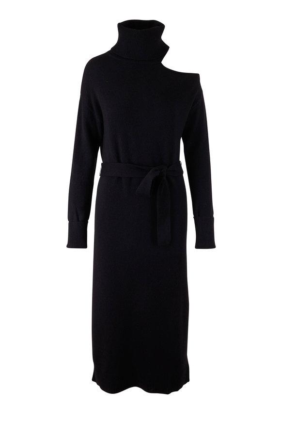 PAIGE Raundi Black Turtleneck Cold Shoulder Dress
