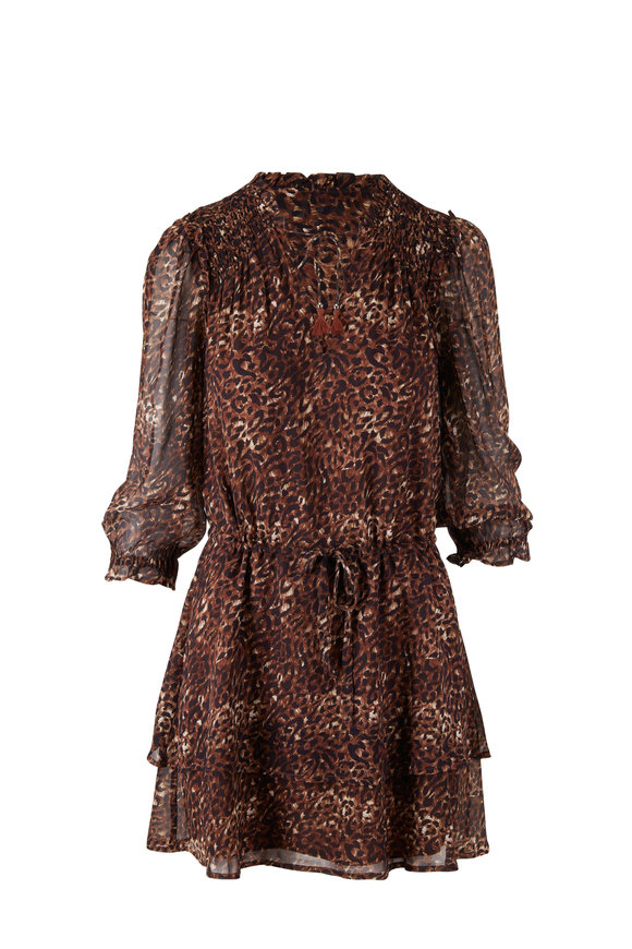 PAIGE Kaylene Mocha Bisque & Ecru Silk Dress