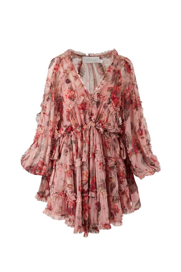 Zimmermann Cassia Pink Frill Billow Dress