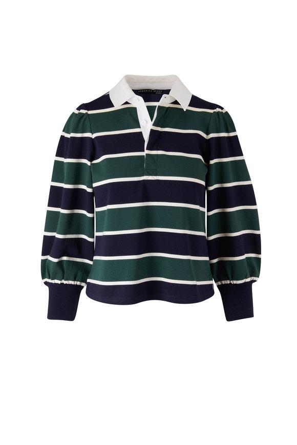Veronica Beard Presto Green & Navy Stripe Long Sleeve Polo