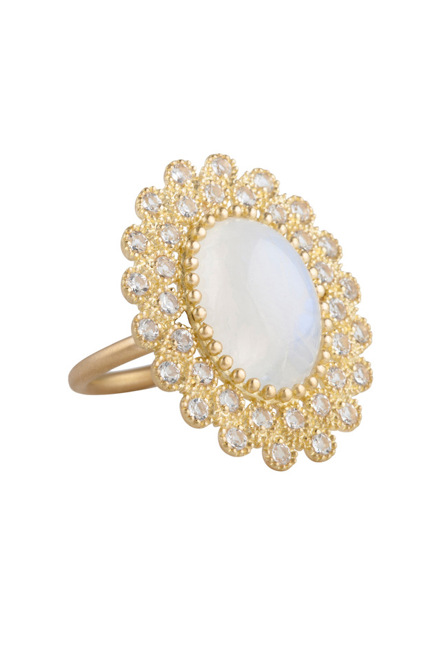 Yellow Gold Moonstone And White Topaz Ring