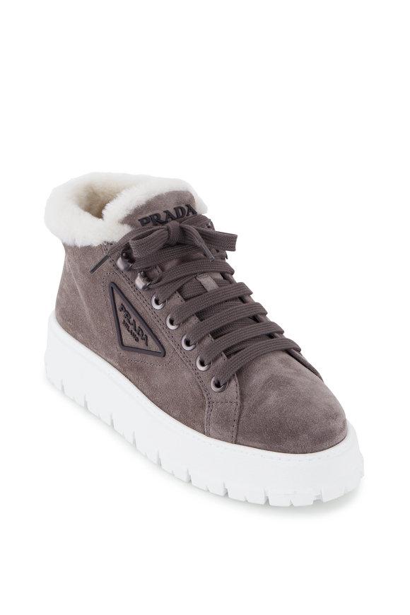 Prada Gray Suede Shearling Lined Hi-Top Sneaker