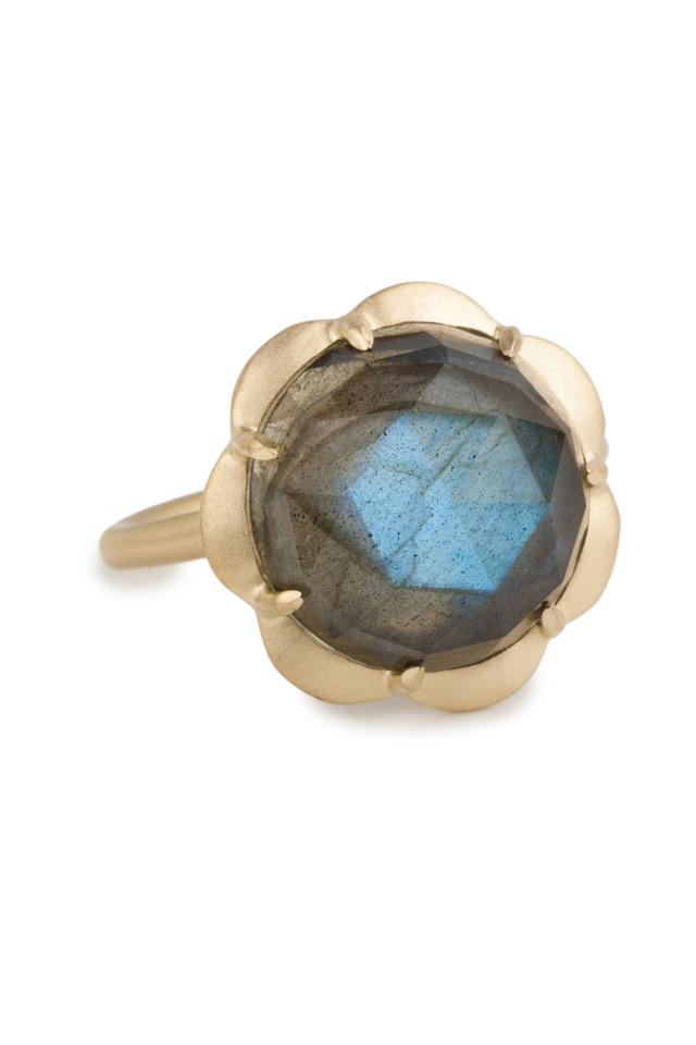Labradorite Scallop Drop Gold Ring