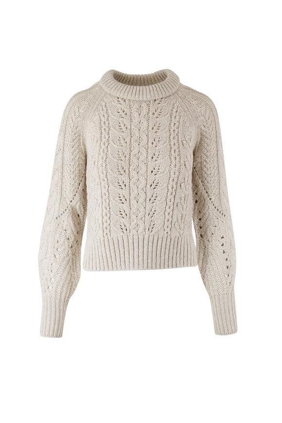 Veronica Beard Asita Ivory Cable-Knit Sweater