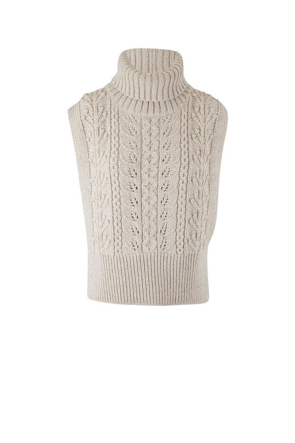 Veronica Beard Collina Ivory Cable-Knit Vest