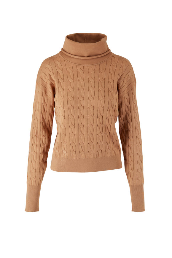 Veronica Beard Lova Camel Cable-Knit Pullover