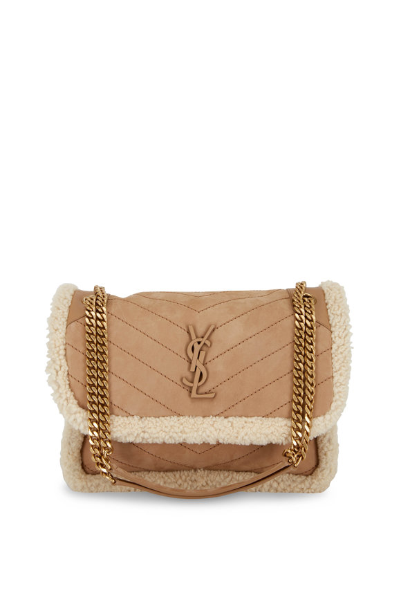 Saint Laurent Niki Tan Shearling Trim Medium Shoulder Bag