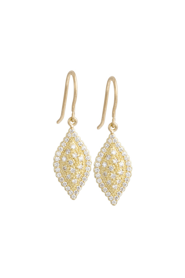 Gold Scallop Pave Marquise Diamond Earrings