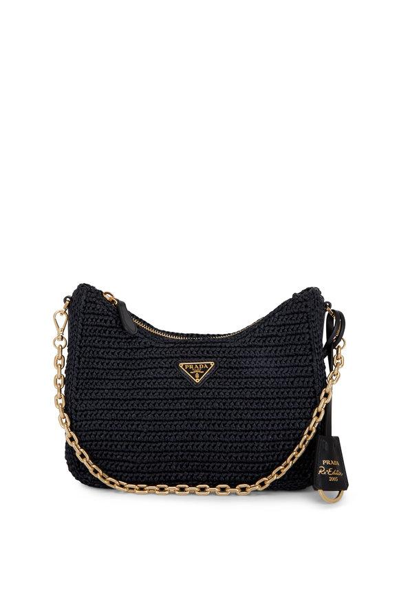 Prada Pouch Black Raffia Shoulder Bag
