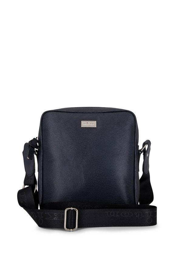 Kiton Black Grained Leather Messenger Bag