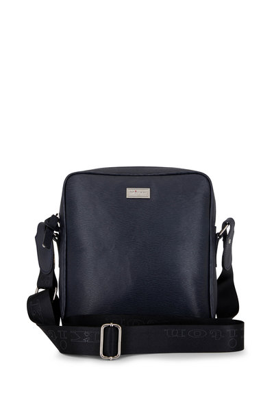Kiton - Black Grained Leather Messenger Bag