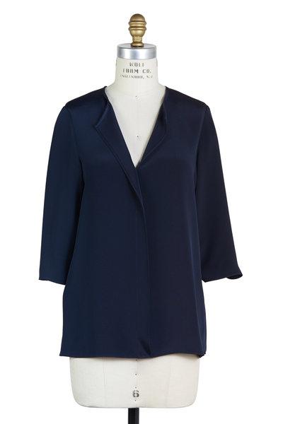 Peter Cohen - Navy Blue Silk Three-Quarter Sleeve V-Neck Blouse