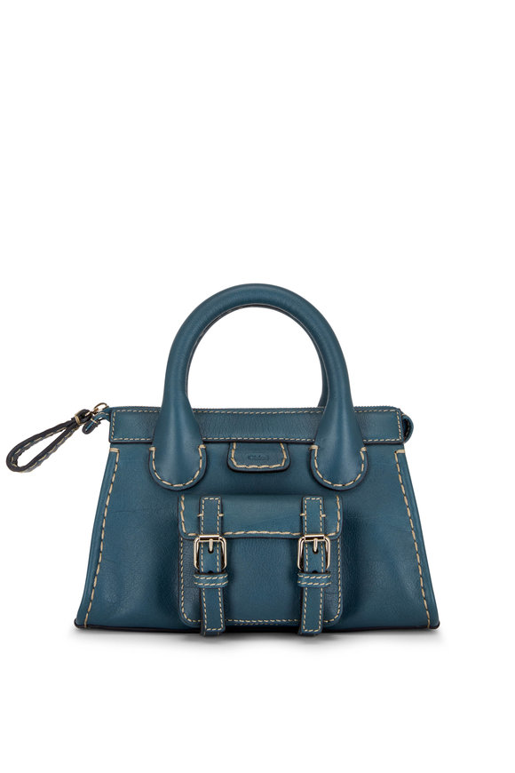Chloé Edith Steel Blue Leather Small Top Handle Bag